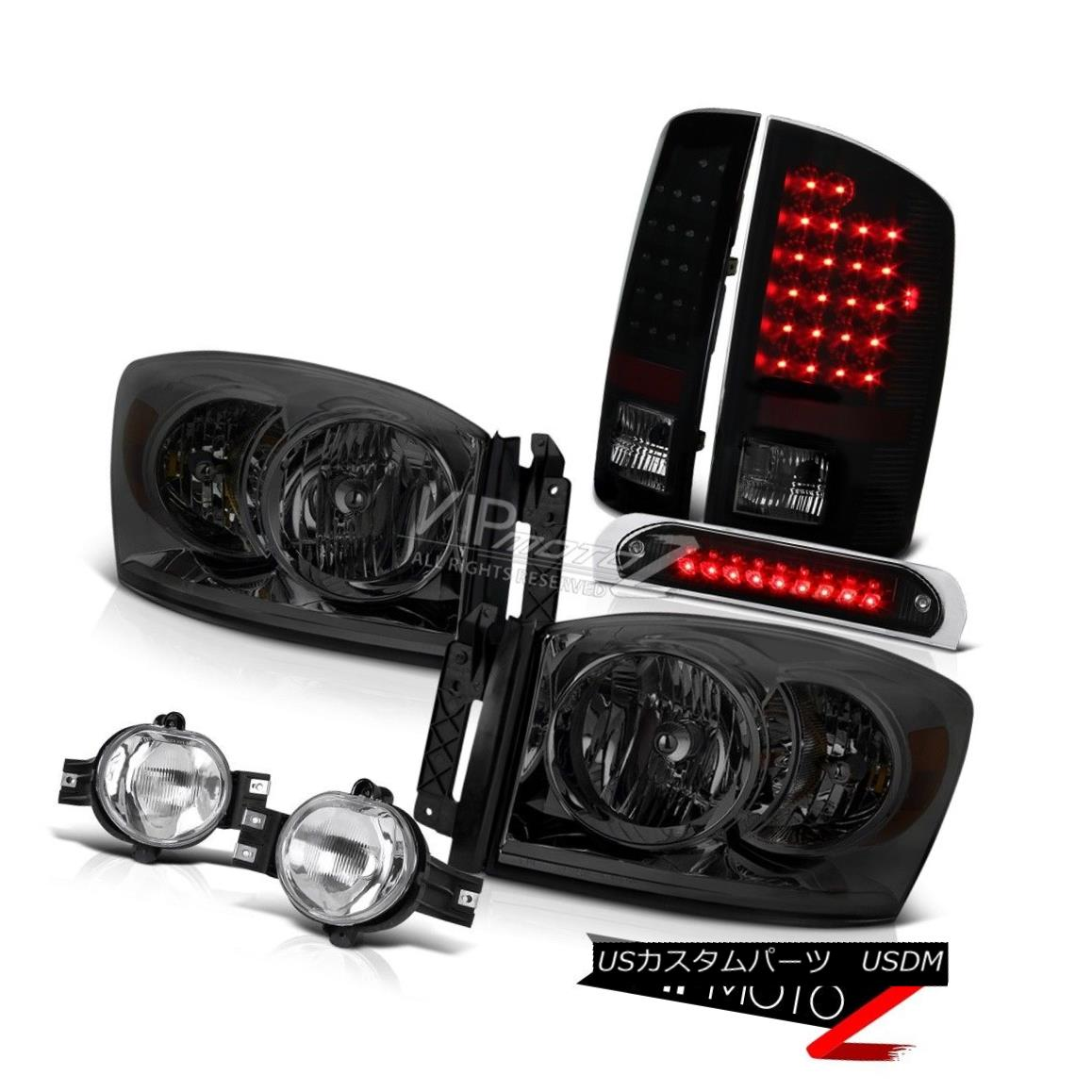 ヘッドライト 07 08 Ram V8 Smoke Headlights L+R LED Taillights Crystal Clear Fog Blk 3rd Brake 07 08ラムV8スモークヘッドライトL + R LEDティアライトクリスタルクリアフォグBLK 3rdブレーキ