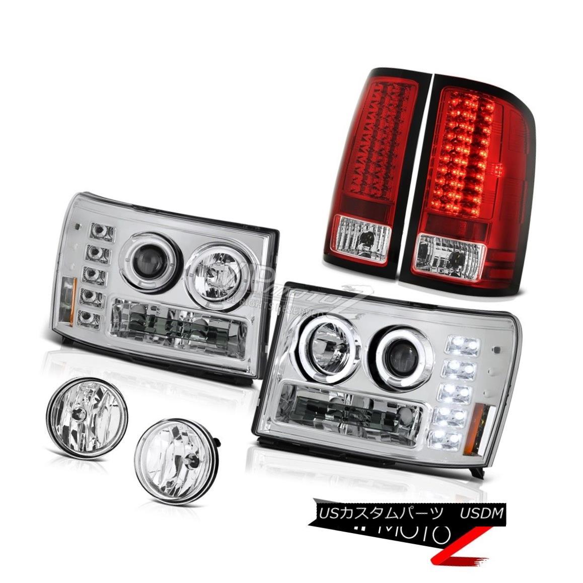 ヘッドライト GMC Sierra Duramax Denali Halo Rim Headlight Smoke LED Taillamps Bumper Foglight GMC Sierra Duramax Denali HaloリムヘッドライトスモークLEDタイルランプバンパーフォグライト