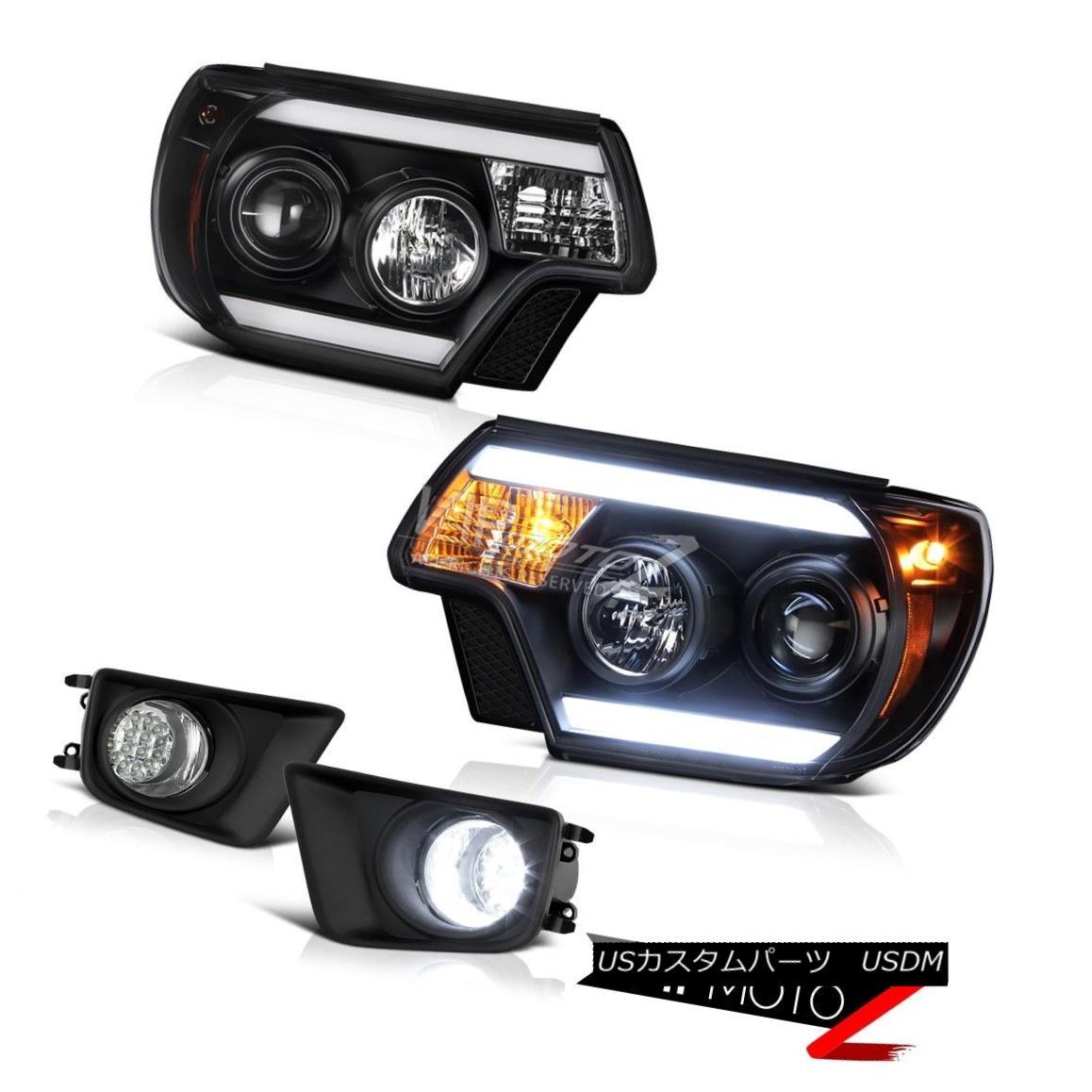ヘッドライト 12-15 Toyota Tacoma X-Runner Foglights matte black projector headlights LED DRL 12-15トヨタタコマXランナーフォグライトマットブラックプロジェクターヘッドライトLED DRL