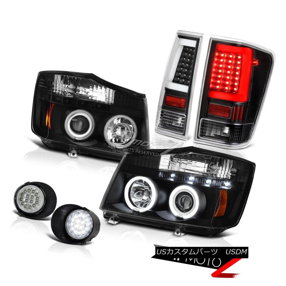 ヘッドライト 04 05 06-14 For Nissan Titan Led Spot Matte Black Fiber Optic Rear Head Lamps 04 05 06-14日産タイタン用スポットライトマットブラックファイバーオプティカルリアヘッドランプ