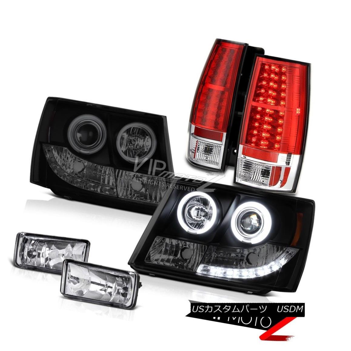 ヘッドライト 2007-14 Chevy Suburban LT LTZ CCFL Halo Rim Headlights LED Taillight Red Foglamp 2007 - 14年シボレー郊外LT LTZ CCFLハローリムヘッドライトLEDテールライトレッドフォグライト