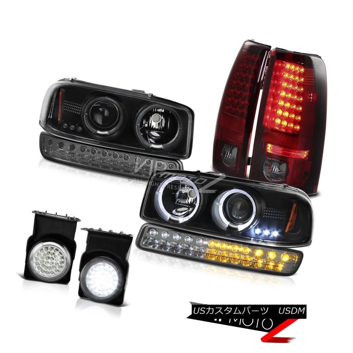 ヘッドライト 2003-2006 Sierra SLT Fog Lamps Rear Brake Parking Light Matte Black Headlamps 2003-2006シエラSLTフォグランプリアブレーキパーキングライトマットブラックヘッドランプ