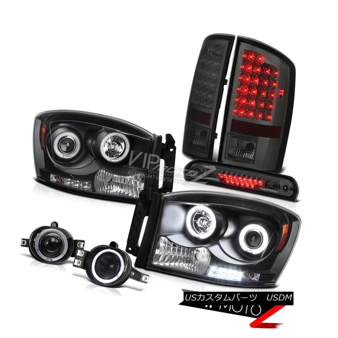 ヘッドライト Halo CCFL Headlamps Dark LED Brake Tail Lights Glass Fog Third 2006 Dodge Ram ST Halo CCFLヘッドランプダークLEDブレーキテールライトGlass Fog第3回2006 Dodge Ram ST