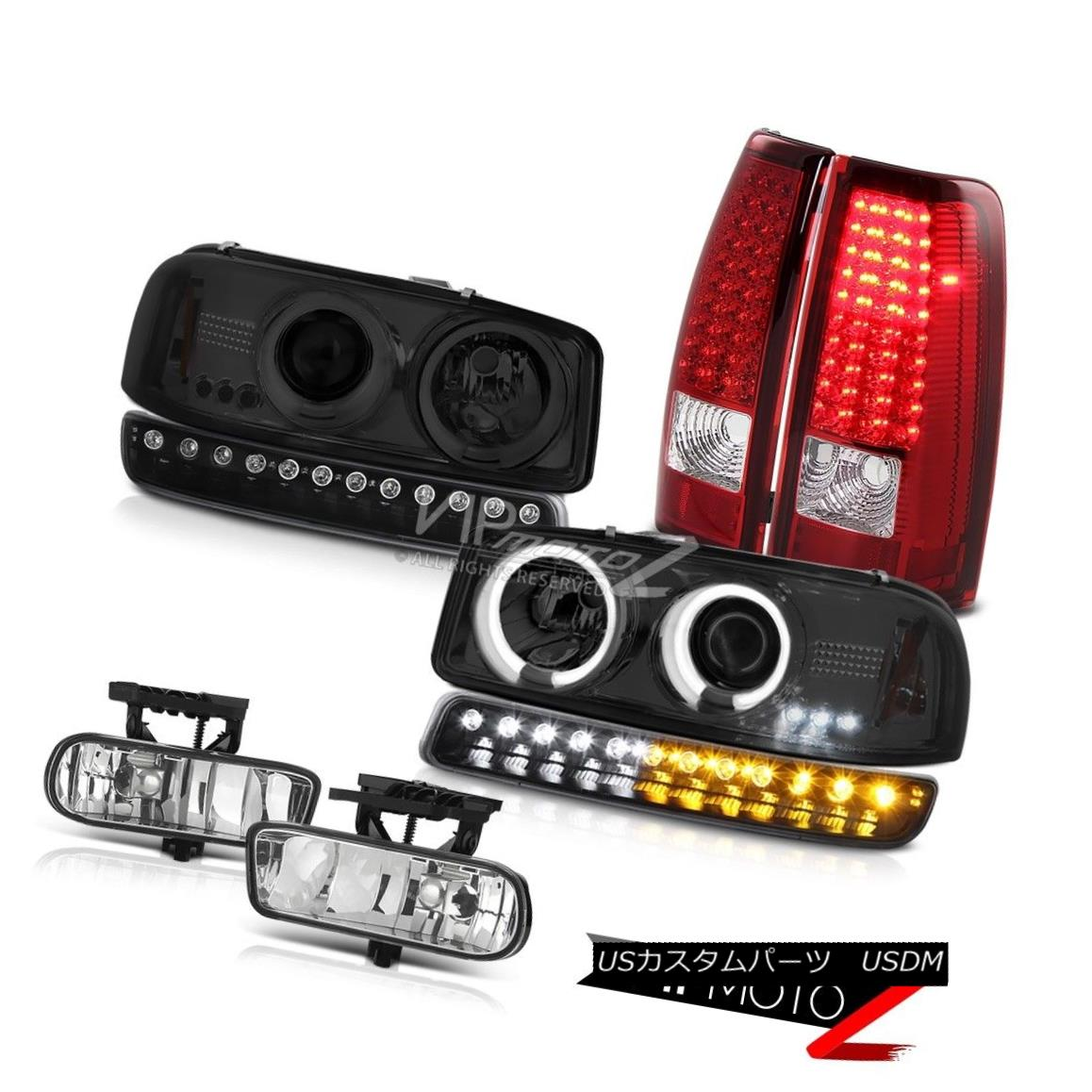 ヘッドライト 99-02 Sierra SLT Fog lights wine red led tail brake signal lamp ccfl Headlights 99-02シエラSLTフォグライトワインレッドテールブレーキ信号ランプccflヘッドライト