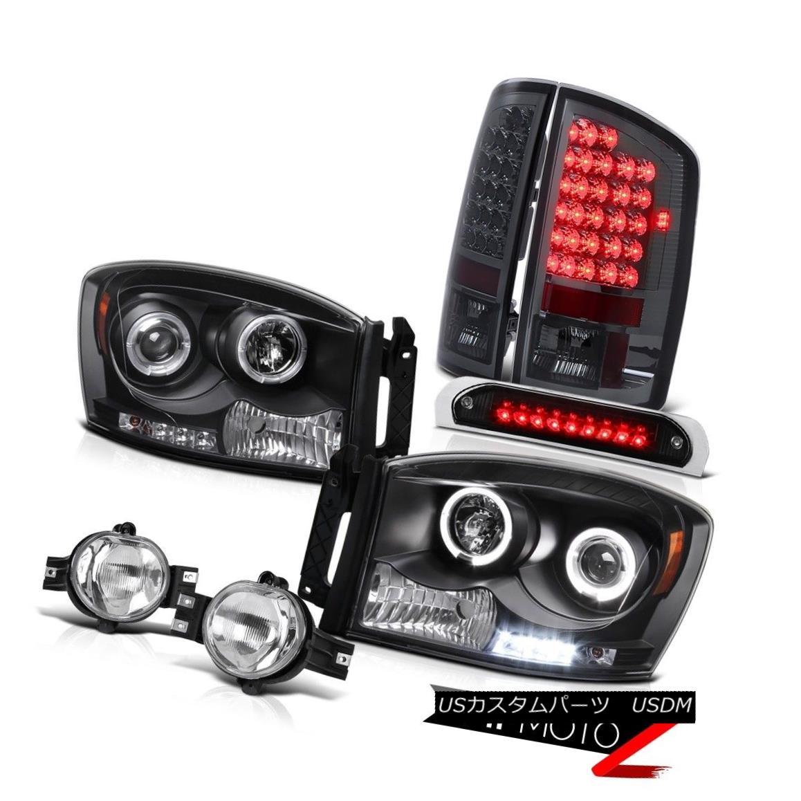 ヘッドライト 06 Ram V6 Black Headlights SMD Halo Tail Lights LED Tinted Driving Fog Roof Stop 06 Ram V6ブラックヘッドライトSMD HaloテールライトLED Tinted Driving Fog Roof Stop