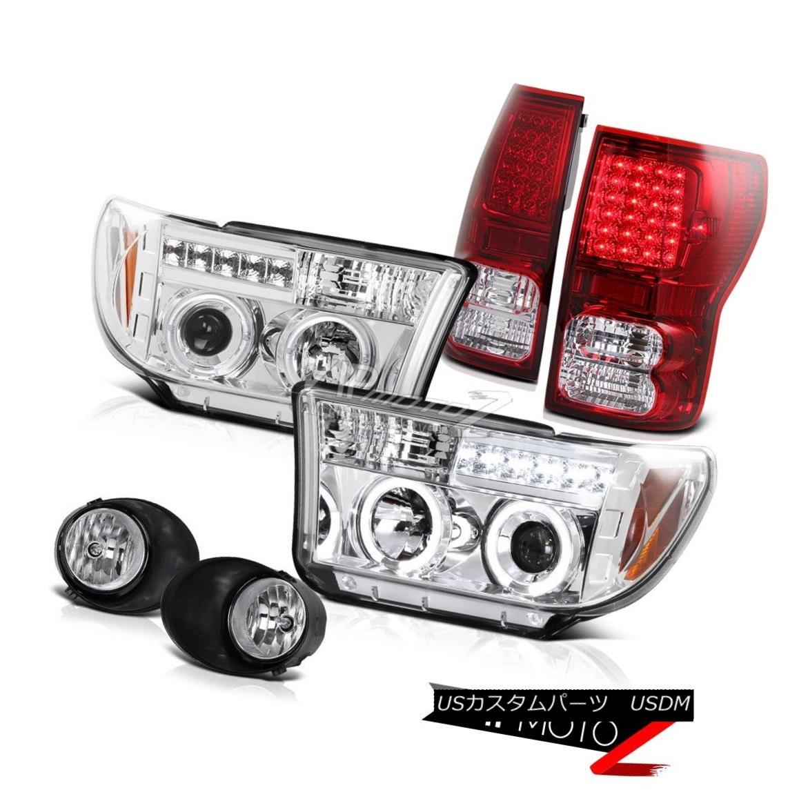 ヘッドライト 2007-2013 Tundra Chrome Projector angel eye Headlamp+Led Tail Light+Fog Lamp 2007-2013 Tundra Chromeプロジェクター天使の目ヘッドランプ+ Ledテールライト+フォグランプ