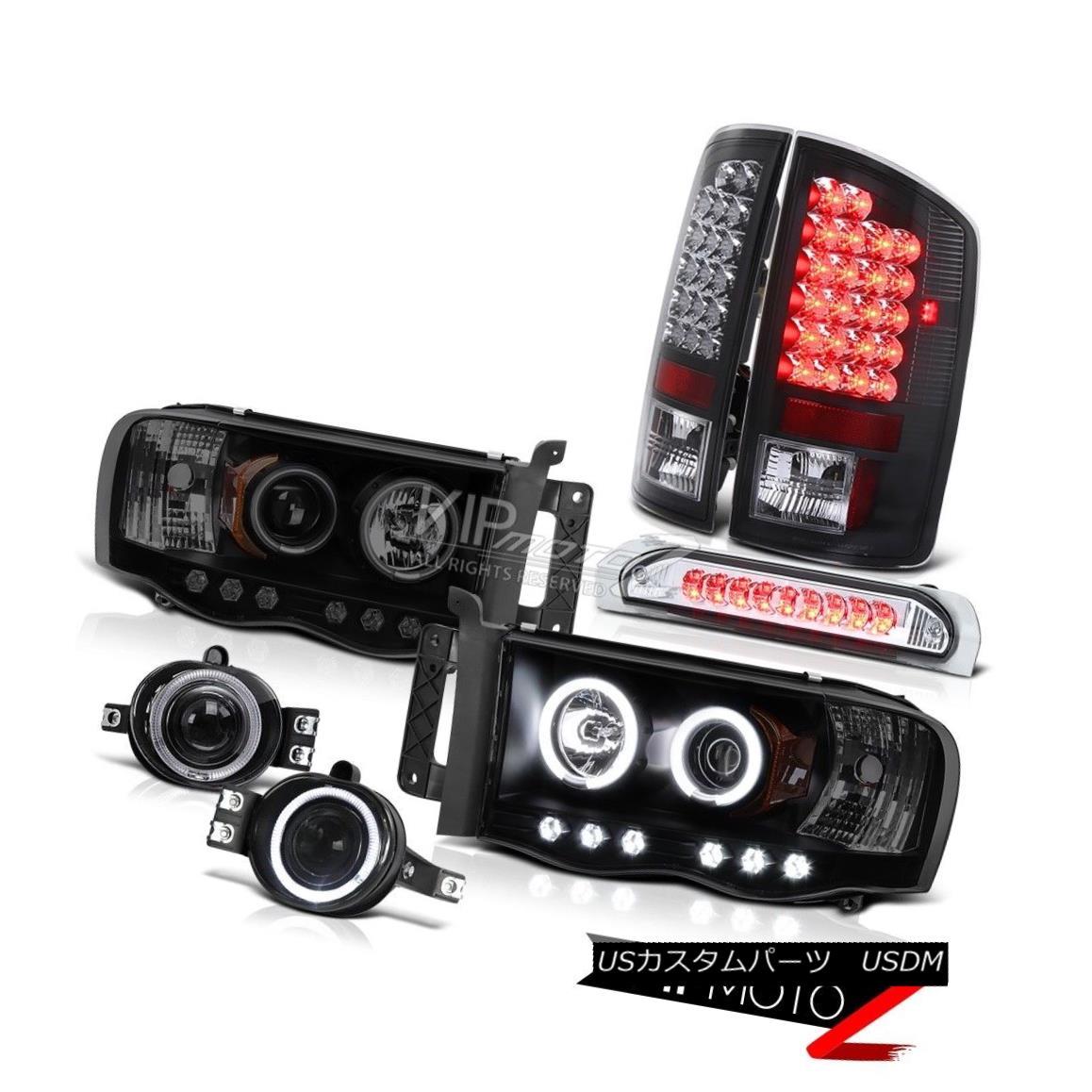 ヘッドライト 02-05 Ram Magnum V8 Quality CCFL Halo Headlight LED Black Taillamp Projector Fog 02-05ラムマグナムV8の品質CCFLハローヘッドライトLEDブラックタイアンランププロジェクターフォグ