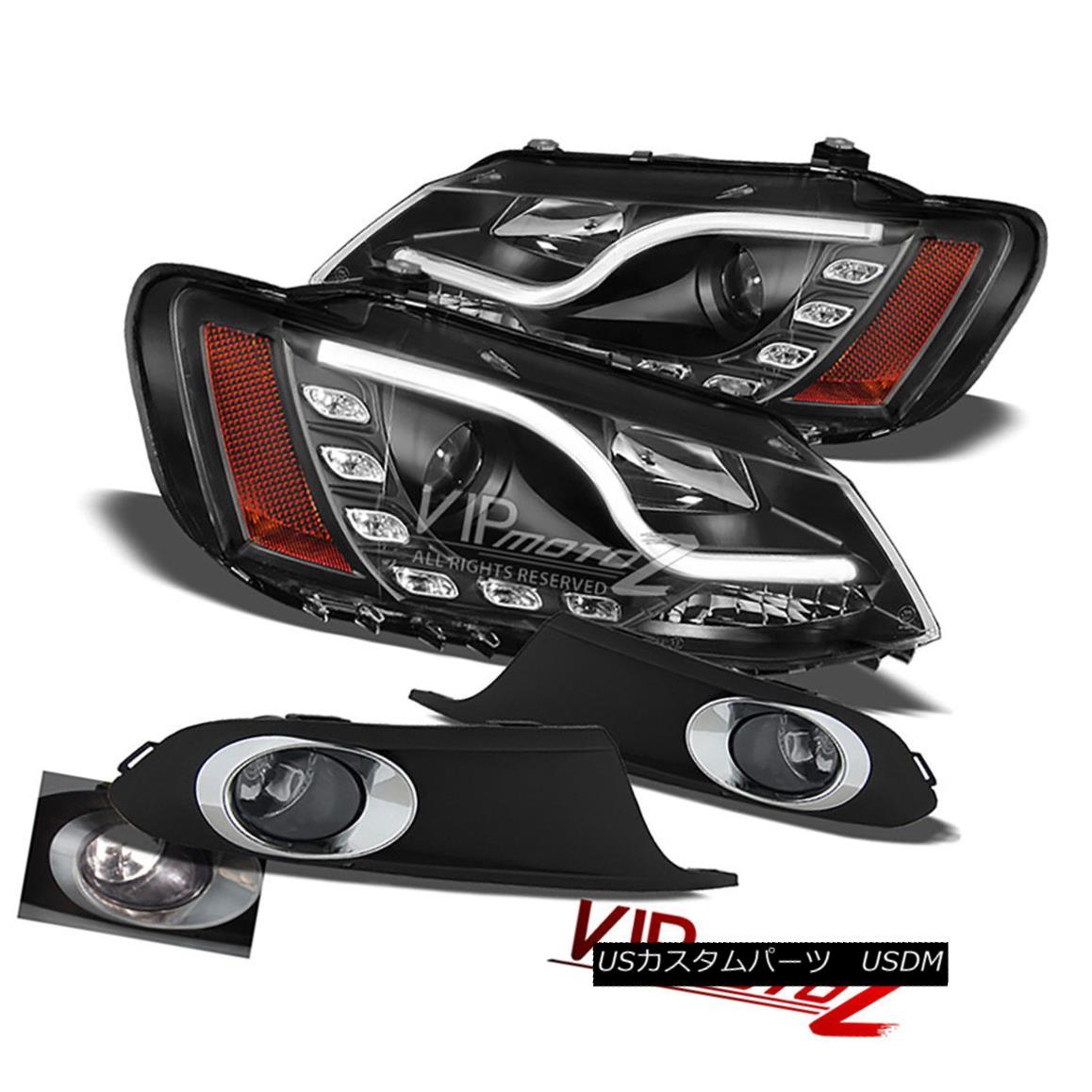 ヘッドライト {BLACK} Halo Projector L+R Headlight+Fog Light 2011-2014 VOLKSWAGEN VW JETTA MK6 {BLACK}ヘイロープロジェクターL + Rヘッドライト+フォグライト2011-2014フォルクスワーゲンVWジェッタMK6