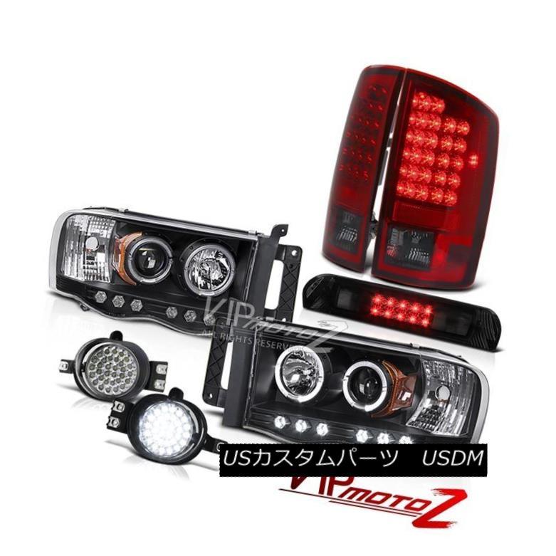 ヘッドライト Black LED Headlamps SMD Rear Tail Lamps L.E.D System High Stop 2002-2005 Ram SLT ブラックLEDヘッドランプSMDリアテールランプL.E.Dシステムハイストップ2002-2005 Ram SLT