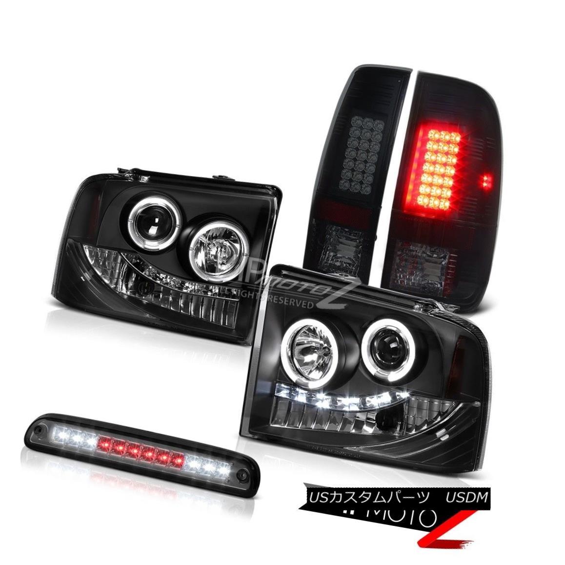 ヘッドライト Black Projector Headlights Smoke Tinted LED Tail Lights Roof Stop 05 06 07 F250 ブラックプロジェクターヘッドライトスモークティント付きLEDテールライトルーフストップ05 06 07 F250