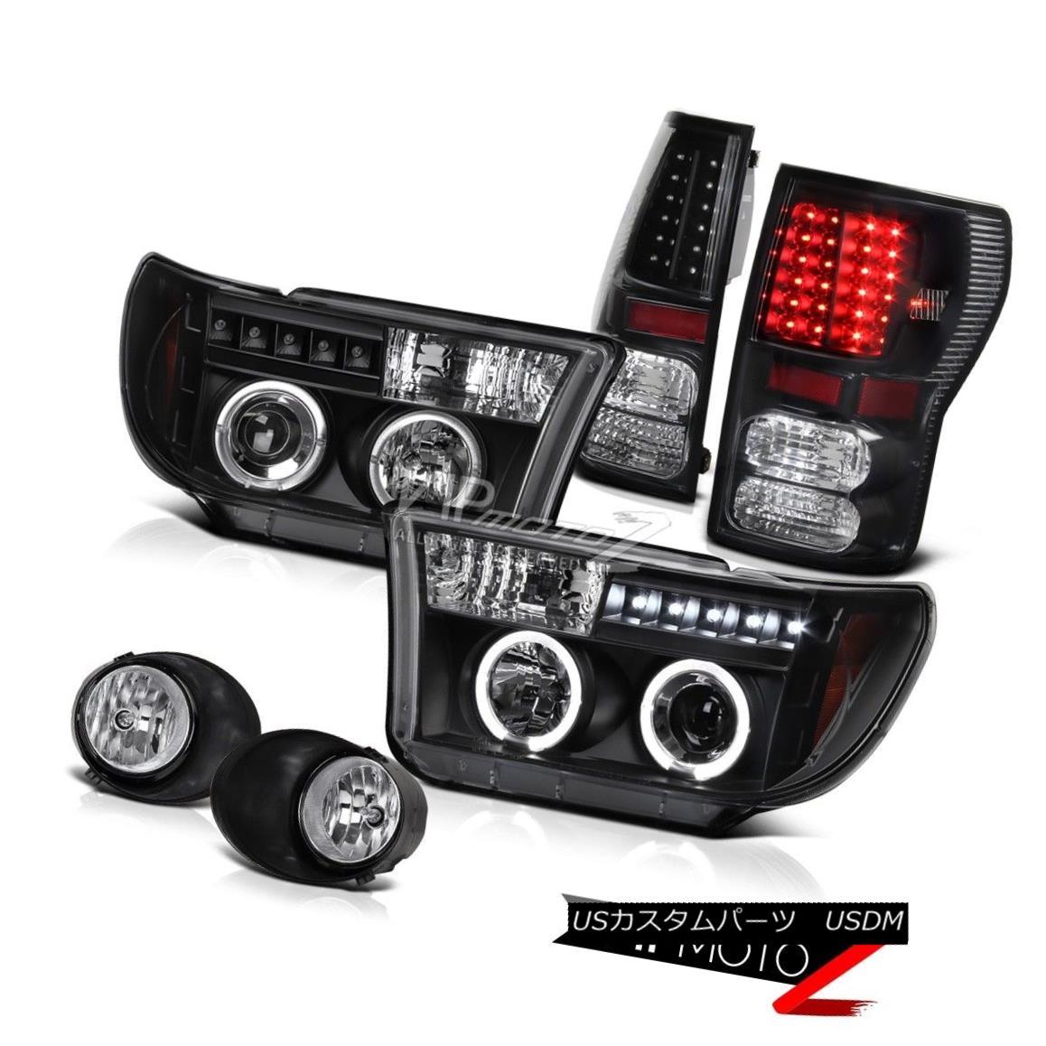 ヘッドライト Black Halo Projector Headlight+Led Tail Light+Fog Lamp Toyota Tundra 07-13 ブラックハロープロジェクターヘッドライト+ Ledテールライト+ FogランプToyota Tundra 07-13