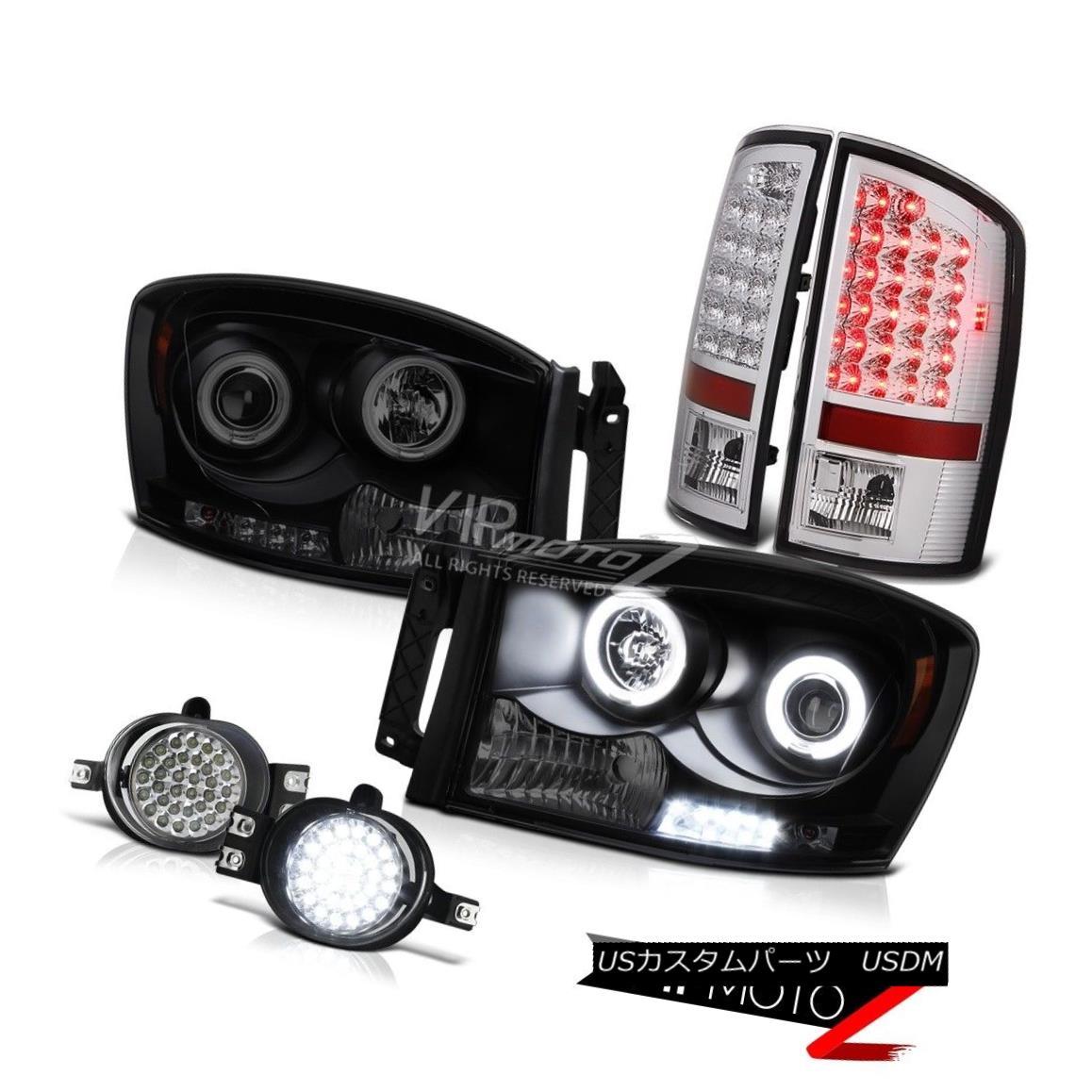 ヘッドライト Devil's CCFL Halo Ring DRL Headlight LED Tail Light D.R.L Fog Dodge Ram ST 07 08 悪魔のCCFLハローリングDRLヘッドライトLEDテールライトD.R.LフォグドッジラムST 07 08