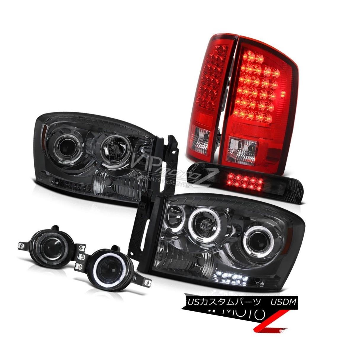 ヘッドライト Smoke Halo Headlight Red LED Tail Lights Projector Foglamps High Stop 06 Ram V6 スモークハローヘッドライトレッドLEDテールライトプロジェクターフォグランプハイストップ06 Ram V6