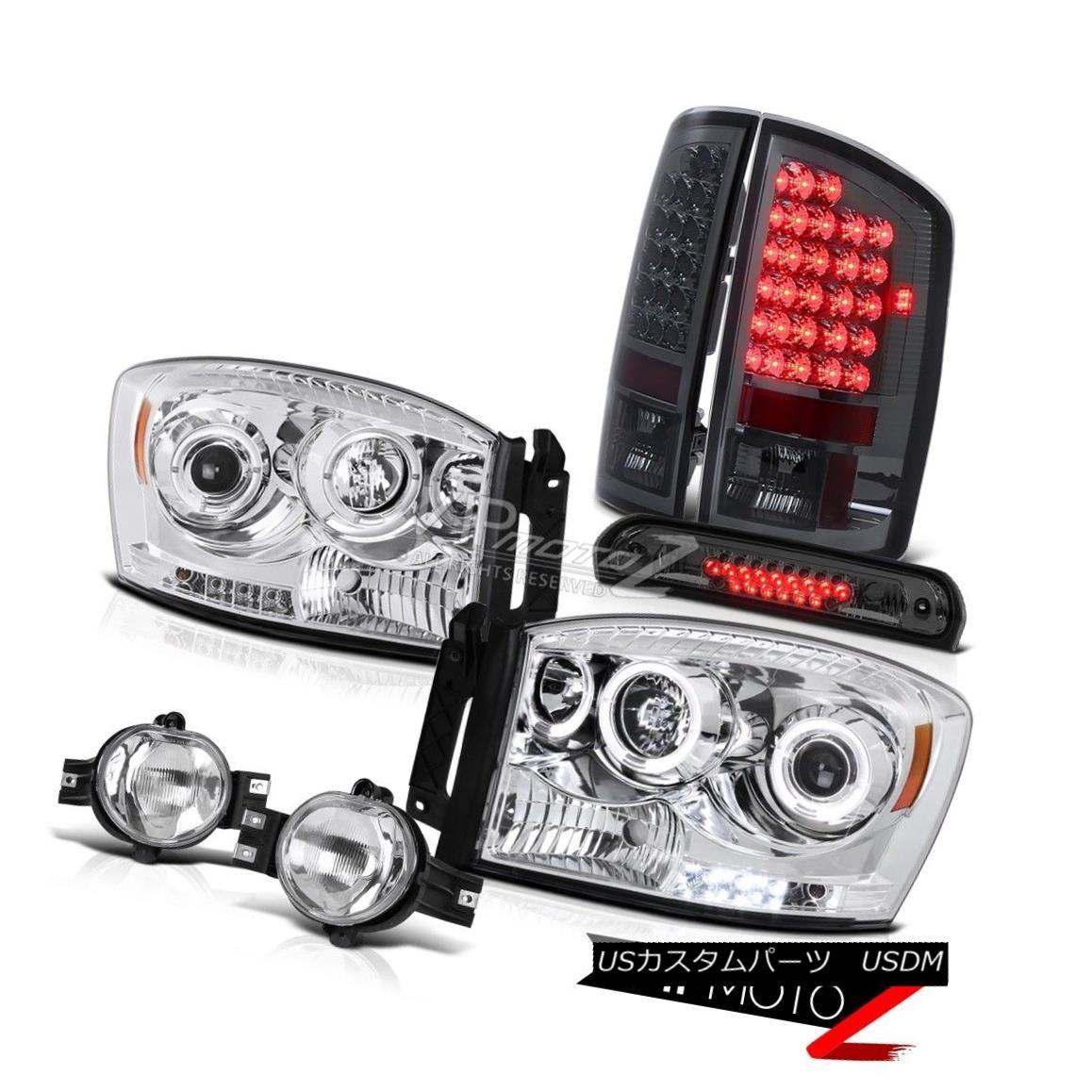 ヘッドライト 07 08 Dodge Ram 2500 Chrome Headlamps Smoked LED Tail Lamps Fog Stop Tinted 3rd 07 08ダッジラム2500クロームヘッドランプスモークLEDテールランプフォグストップトーンストーン3