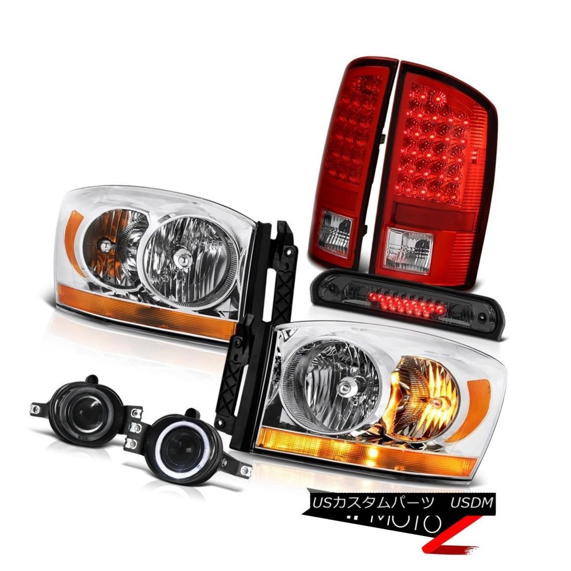 ヘッドライト 2006 Ram 3500 Chrome Headlights Fog Lights Roof Cargo Lamp Wine Red Taillamps 2006 Ram 3500クロームヘッドライトフォグライトルーフカーゴランプワインレッドタイルランプ