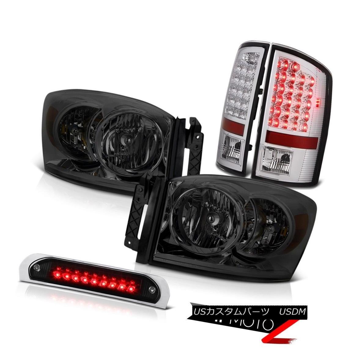 ヘッドライト 2X Dark Smoke Headlights Bright LED Tail Lights High Stop Black 2006 Ram Hemi 2Xダークスモークヘッドライト明るいLEDテールライトハイストップブラック2006 Ram Hemi