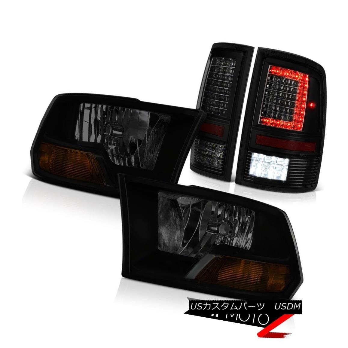ヘッドライト 09 10 11-18 Dodge RAM 3500 Darkest Smoke Tail Lamp Factory Style Headlights PAIR 09 10 11-18ダッジRAM 3500暗い煙テールランプ工場スタイルヘッドライトPAIR
