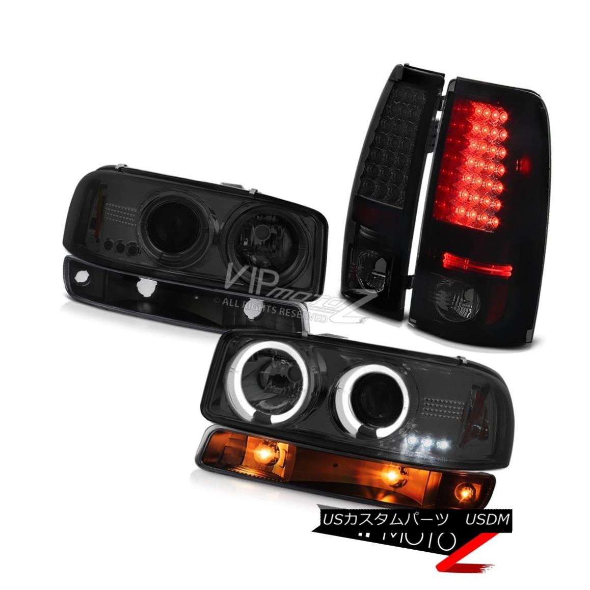 ヘッドライト 99-02 Sierra SLT LED tail lamps bumper light graphite smoke headlamps Dual Halo 99-02シエラSLT LEDテールランプバンパーライトグラファイトスモークヘッドランプデュアルヘイロー