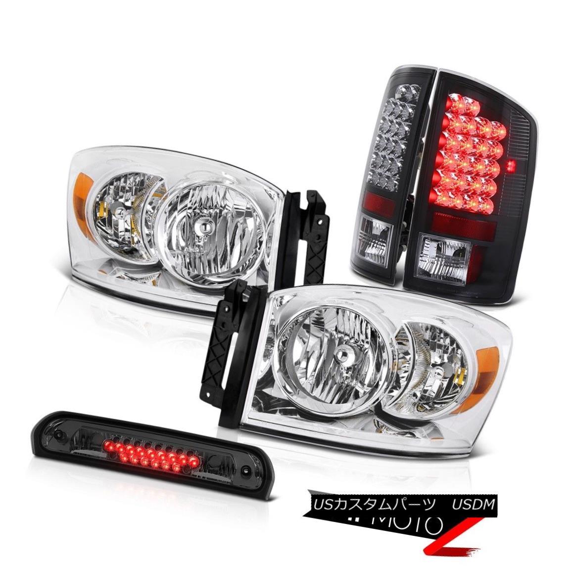 ヘッドライト 2006 Dodge Ram SLT Euro Chrome Headlights Black LED Taillights High Stop Smoke 2006ダッジラムSLTユーロクロームヘッドライトブラックLEDテールライトハイストップスモーク