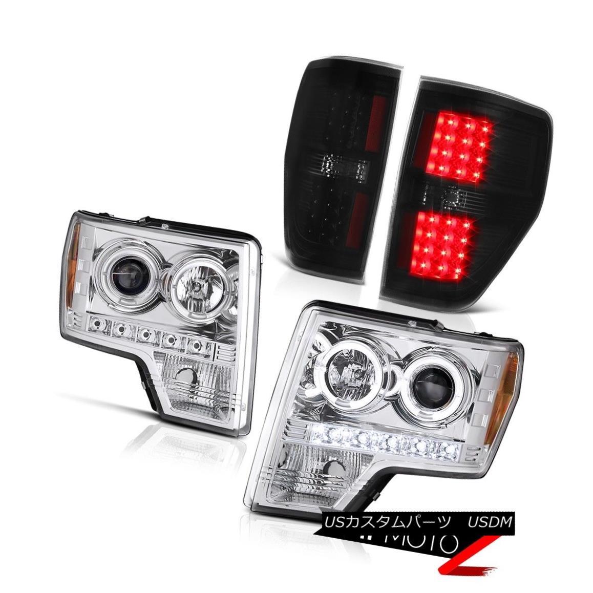 ヘッドライト 2009-2014 Ford F150 Chrome Angel Eye DRL Projector Headlight LED Bulbs Taillight 2009-2014フォードF150クロームエンジェルアイDRLプロジェクターヘッドライトLEDバルブティアライト