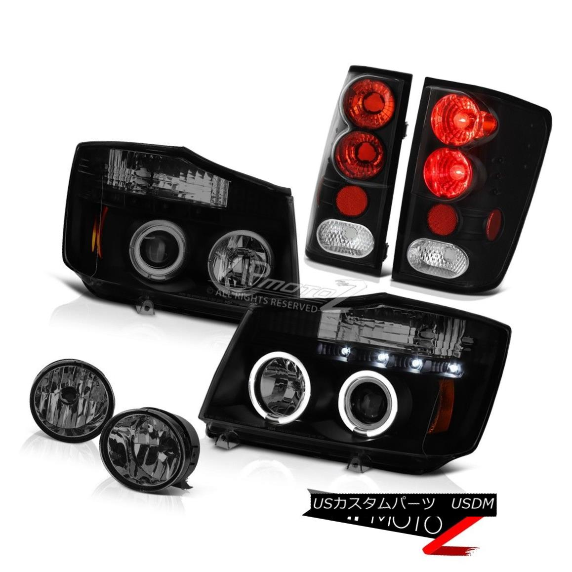 ヘッドライト For 04-15 Titan LE Smoke Headlights Tail Lights Rear Black Brake Lamps Foglamp 04?15タイタンLEスモークヘッドライトテールライトリアブラックライトランプFoglamp