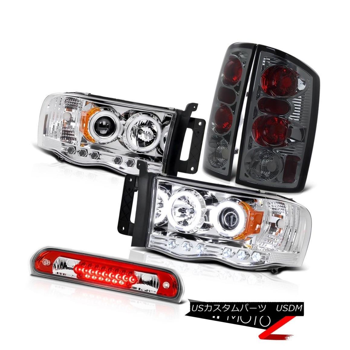ヘッドライト Clear CCFL Halo Headlights Smoke Tail Lamps Roof Brake LED Red 2002-2005 Ram V8 クリアCCFLハローヘッドライトスモークテールランプルーフブレーキLEDレッド2002-2005 Ram V8