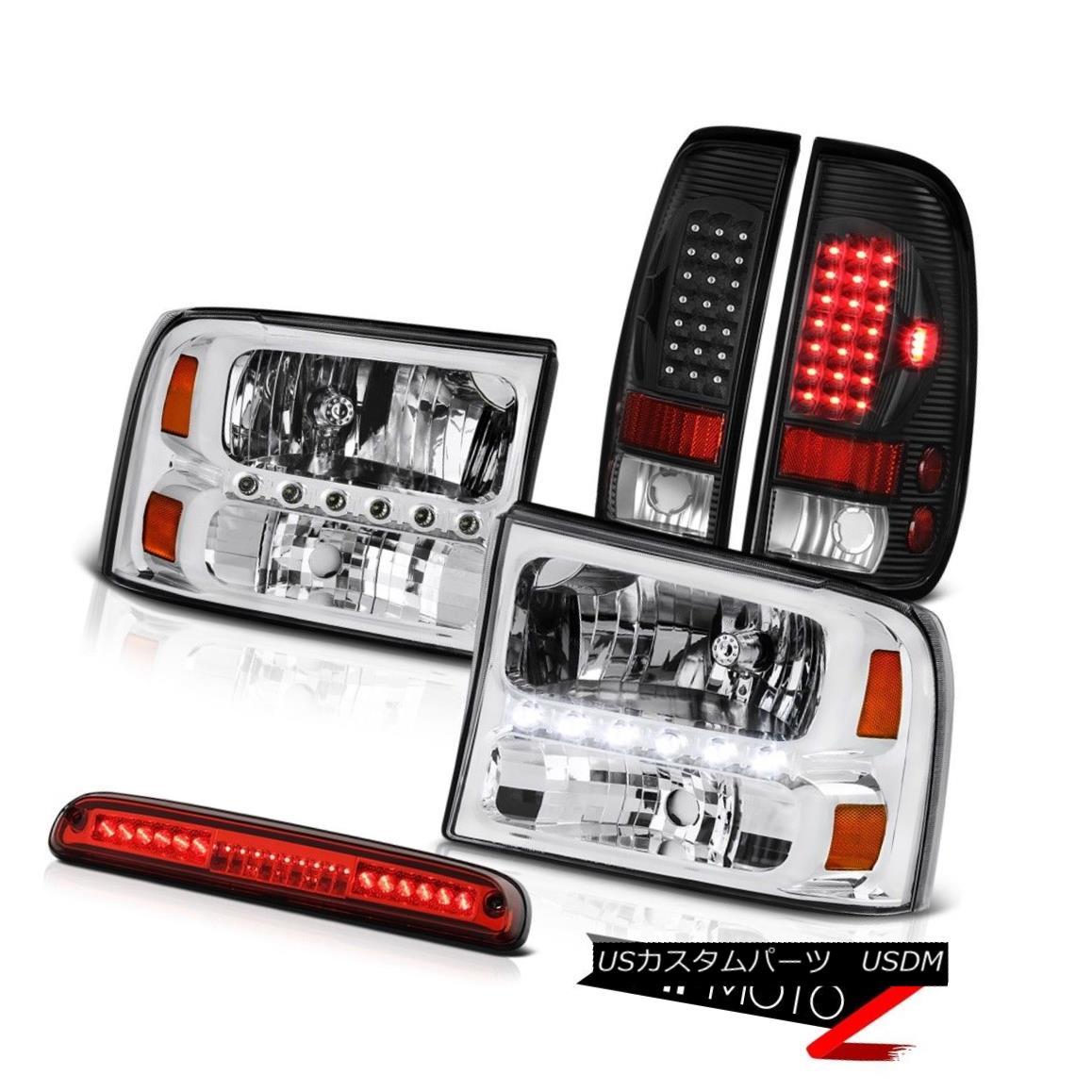 ヘッドライト 99-04 F350 XL Nickel Chrome Headlights LED Bulbs Rear Tail Light Third Brake Red 99-04 F350 XLニッケルクロームヘッドライトLED電球リアテールライト第3ブレーキ赤
