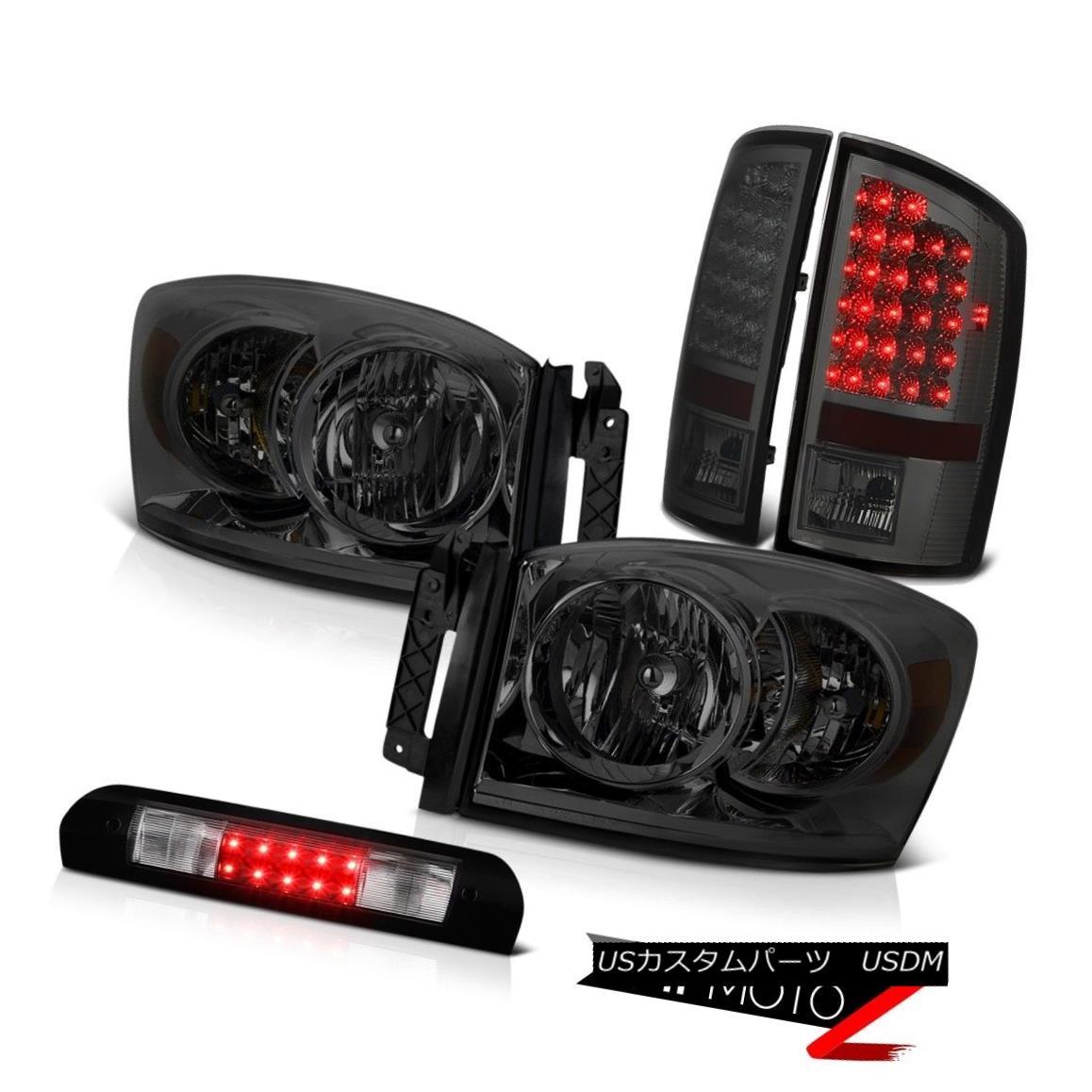 ヘッドライト Darkest Smoke Headlights LED Tail Brake Lamps High Cargo 2007 2008 Dodge Ram V6 最も暗い煙ヘッドライトLEDテールブレーキランプHigh Cargo 2007 2008 Dodge Ram V6