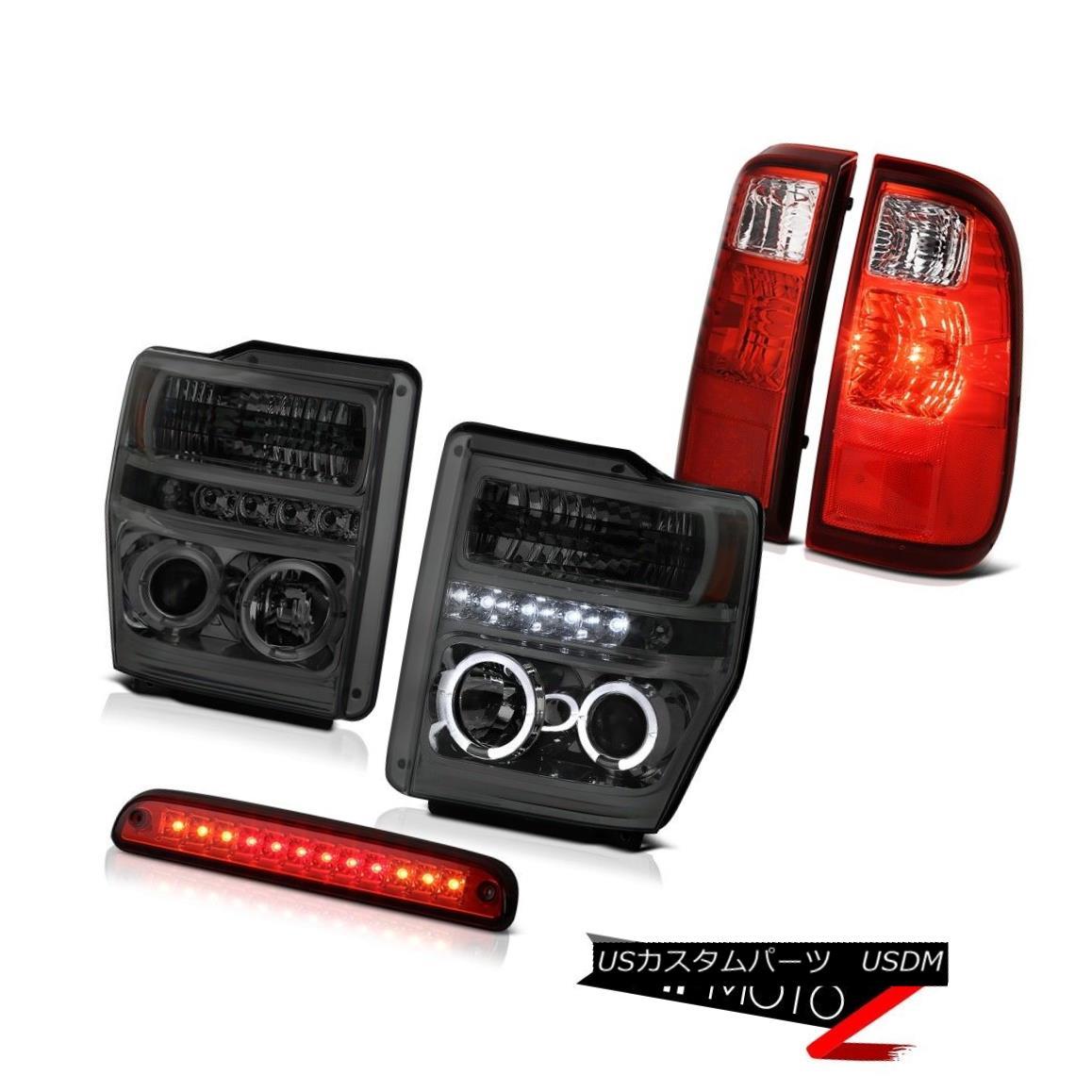ヘッドライト Angel Eye DRL Headlights Roof Brake LED Red Tail Lights 2008-2010 Ford SuperDuty エンジェルアイDRLヘッドライトルーフブレーキLEDレッドテールライト2008-2010 Ford SuperDuty