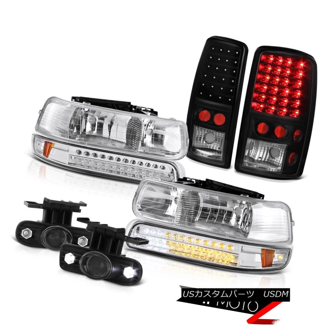 ヘッドライト 2000-2006 Chevy Tahoe Euro LED Chrome Headlights SMD Brake Tail Lights Glass Fog 2000-2006シボレータホユーロLEDクロームヘッドライトSMDブレーキテールライトグラスフォグ