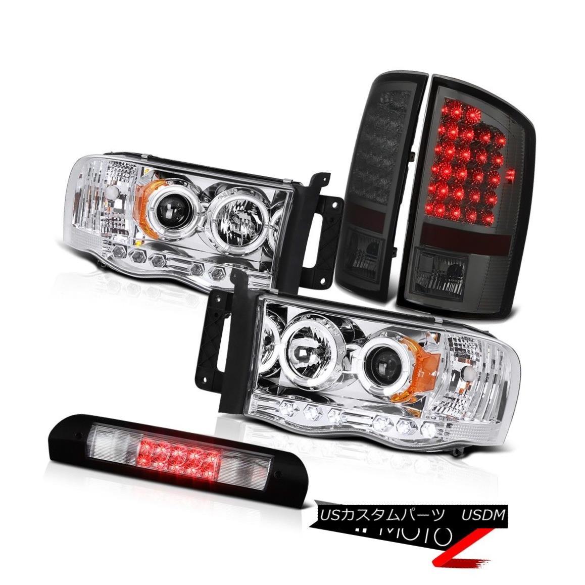 ヘッドライト Chrome Halo LED Headlights Smoke Tail Lights High Stop 02 03 04 05 Dodge Ram クロームハローLEDヘッドライトスモークテールライトハイストップ02 03 04 05ドッジラム