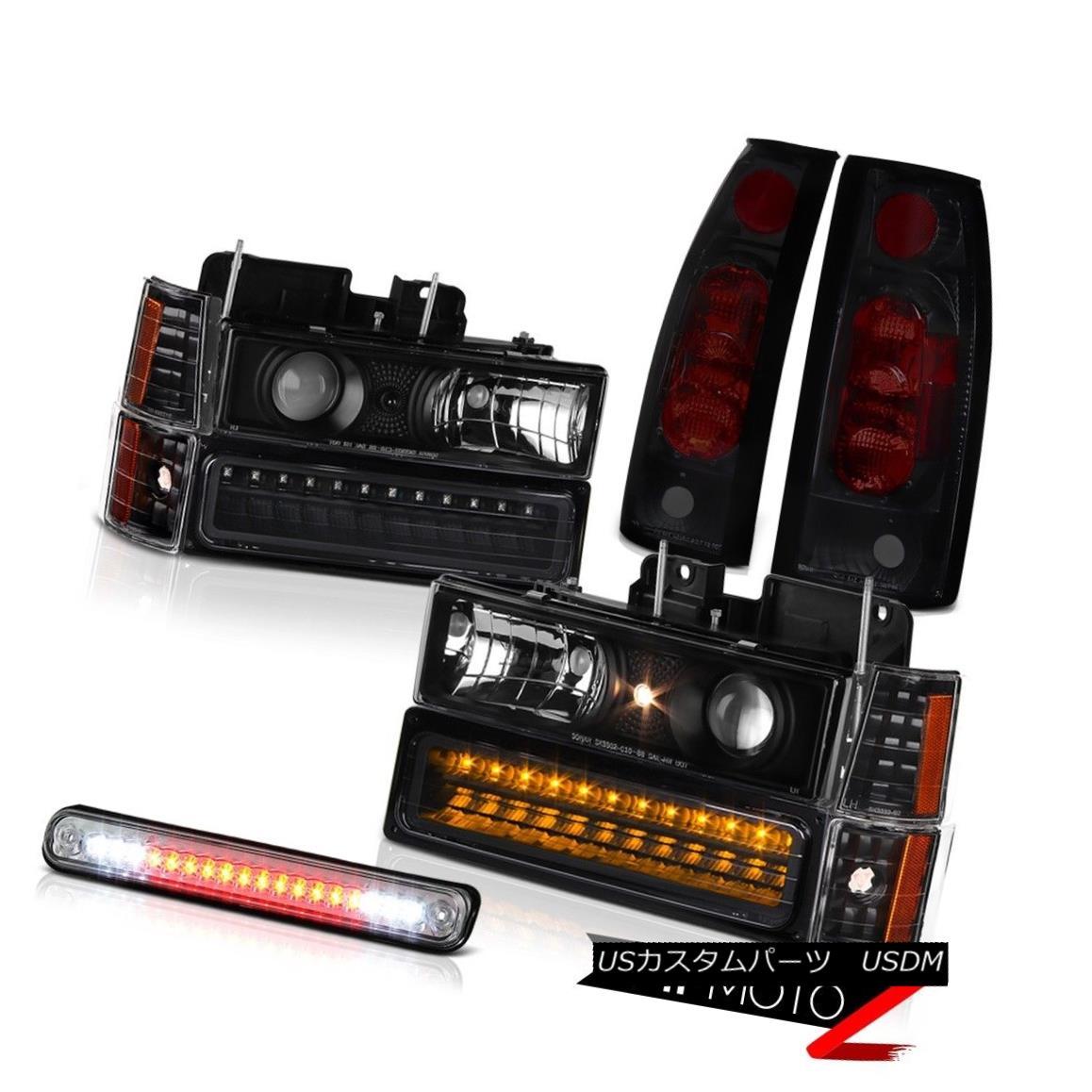 ヘッドライト Black DRL Headlamps Smoke Tail Lamps Chrome Third Brake Lamp 94 95 96 Sierra SLT ブラックDRLヘッドランプスモークテールランプクロームサードブレーキランプ94 95 96 Sierra SLT