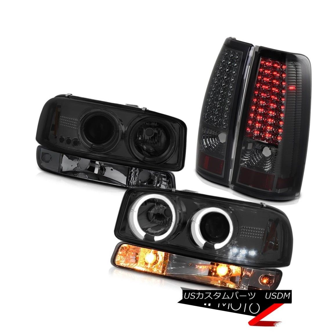 ヘッドライト 99 00 01 02 Sierra 2500HD Smoked smd tail lamps turn signal headlights Halo Rim 99 00 01 02 Sierra 2500HD Smokeテールランプ信号ヘッドライトを回すHalo Rim