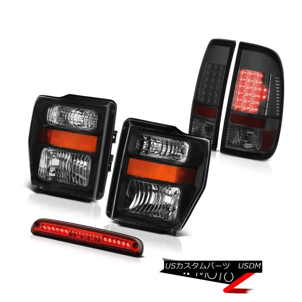 ヘッドライト 08 09 10 F350 Power Stroke V8 Black Headlights LED Bulbs Tail Lights Brake Cargo 08 09 10 F350パワーストロークV8ブラックヘッドライトLED電球テールライトブレーキカーゴ