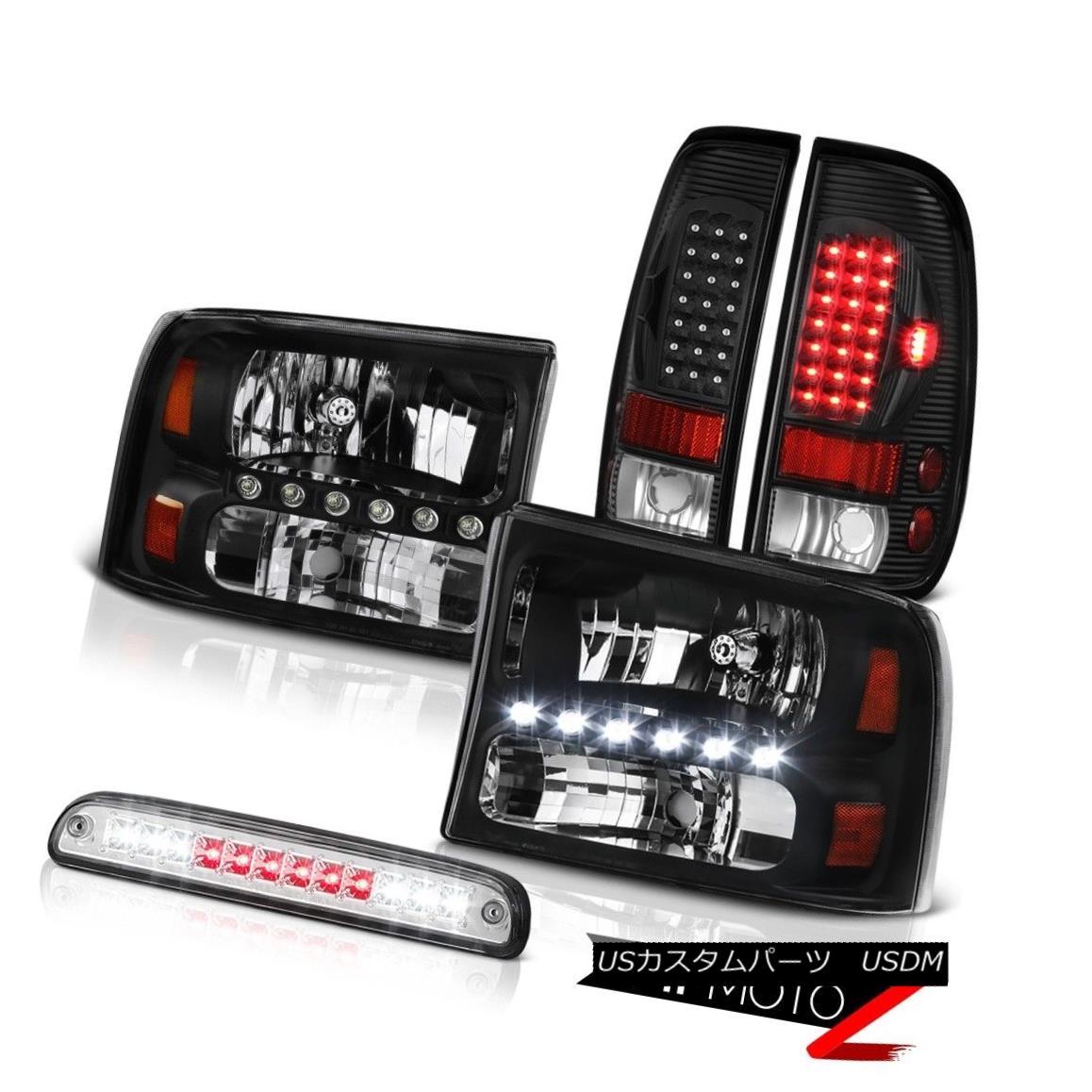 ヘッドライト Pair Black Bumper Headlamps 3rd Brake Cargo LED Blubs 99 00 01 02 03 04 F350 XL ペアブラックバンパーヘッドランプ第3ブレーキカーゴLED電球99 00 01 02 03 04 F350 XL