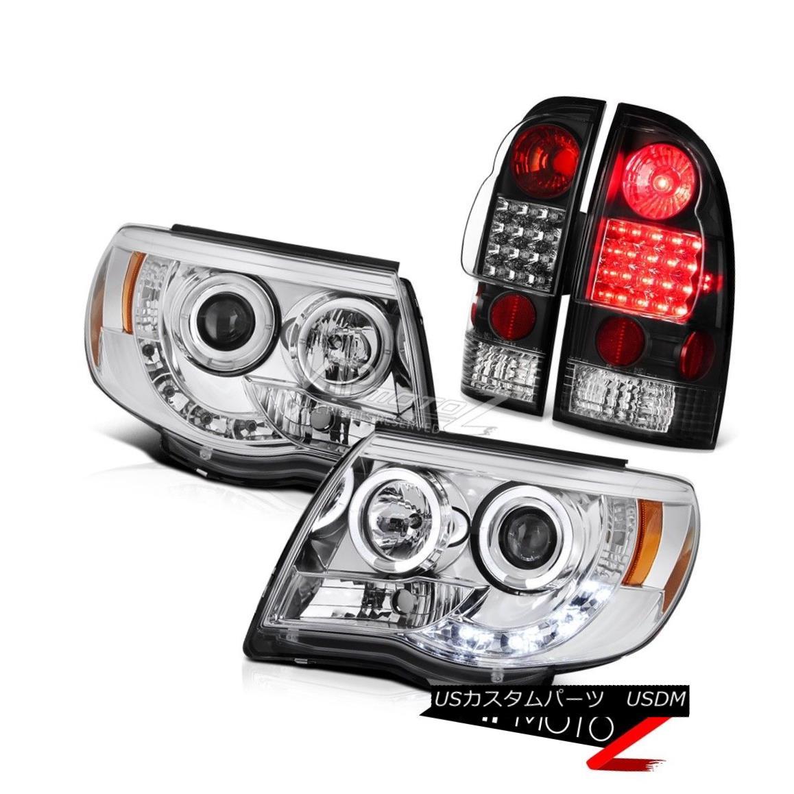 ヘッドライト Chrome LED D.R.L Angel Eye Projector Head Lights Rear Brake Tail Light Lamp 4PC クロームLED D.R.Lエンジェルアイプロジェクターヘッドライトリアブレーキテールライトランプ4PC