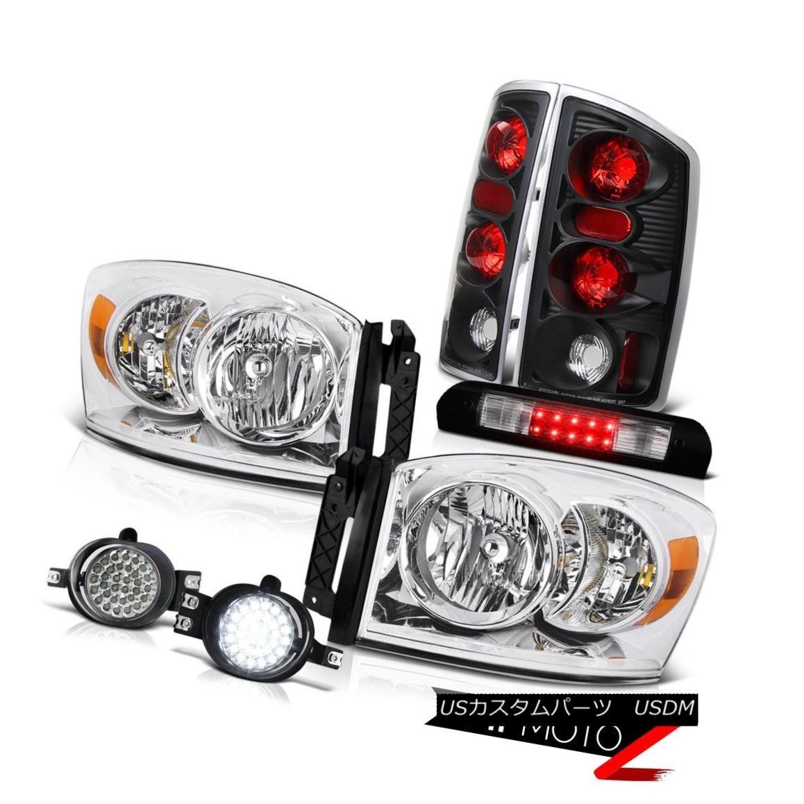 ヘッドライト Euro Headlights Black Reverse Tail Lights LED Foglights High Stop 2006 Dodge Ram ユーロヘッドライトブラックリバーステールライトLED Foglightsハイストップ2006ドッジラム