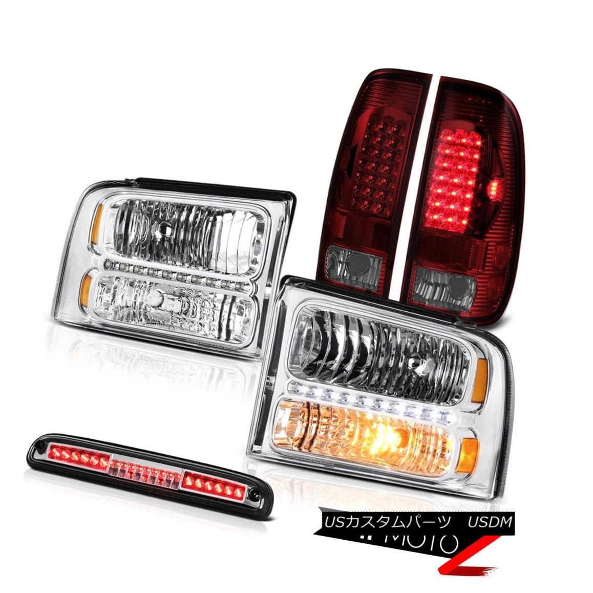 ヘッドライト 2005-2007 Ford F550 Front Clear Headlights Rear Tail Lights LED High Stop Chrome 2005-2007 Ford F550フロントクリアヘッドライトリアテールライトLEDハイストップクローム