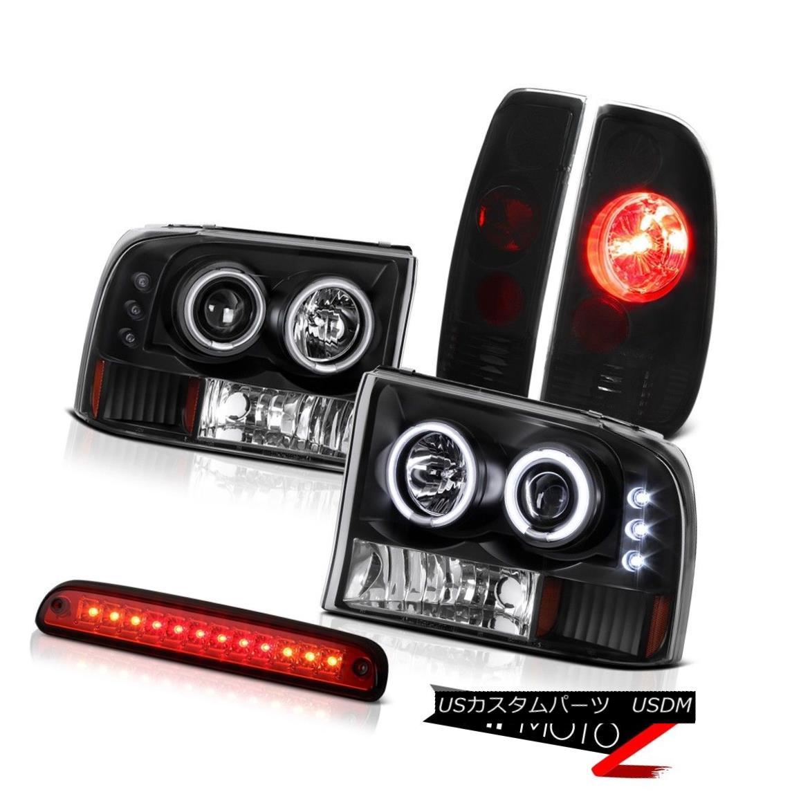 ヘッドライト Black CCFLr Headlight Roof Brake LED Red Dark Smoke TailLight 99-04 F250 Turbo ブラックCCFLヘッドライトルーフブレーキLED赤ダークスモークテールライト99-04 F250ターボ