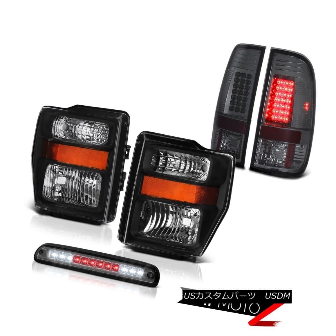 ヘッドライト Black Headlamps Tinted 3rd Brake LED Lights 2008 2009 2010 Ford F-250 F-350 FX4 ブラックヘッドランプは、第3ブレーキLEDライト2008年を着色2010年Ford F-250 F-350 FX4