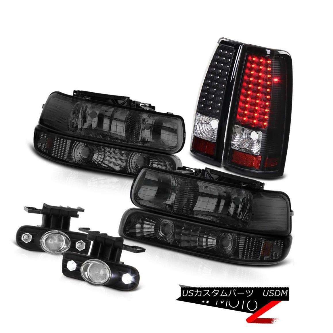 ヘッドライト Matte Black Rear LED Tail Light Brake Lamp Projector Foglights Smoke Headlights マットブラックリアLEDテールライトブレーキランププロジェクターフォグライトスモークヘッドライト