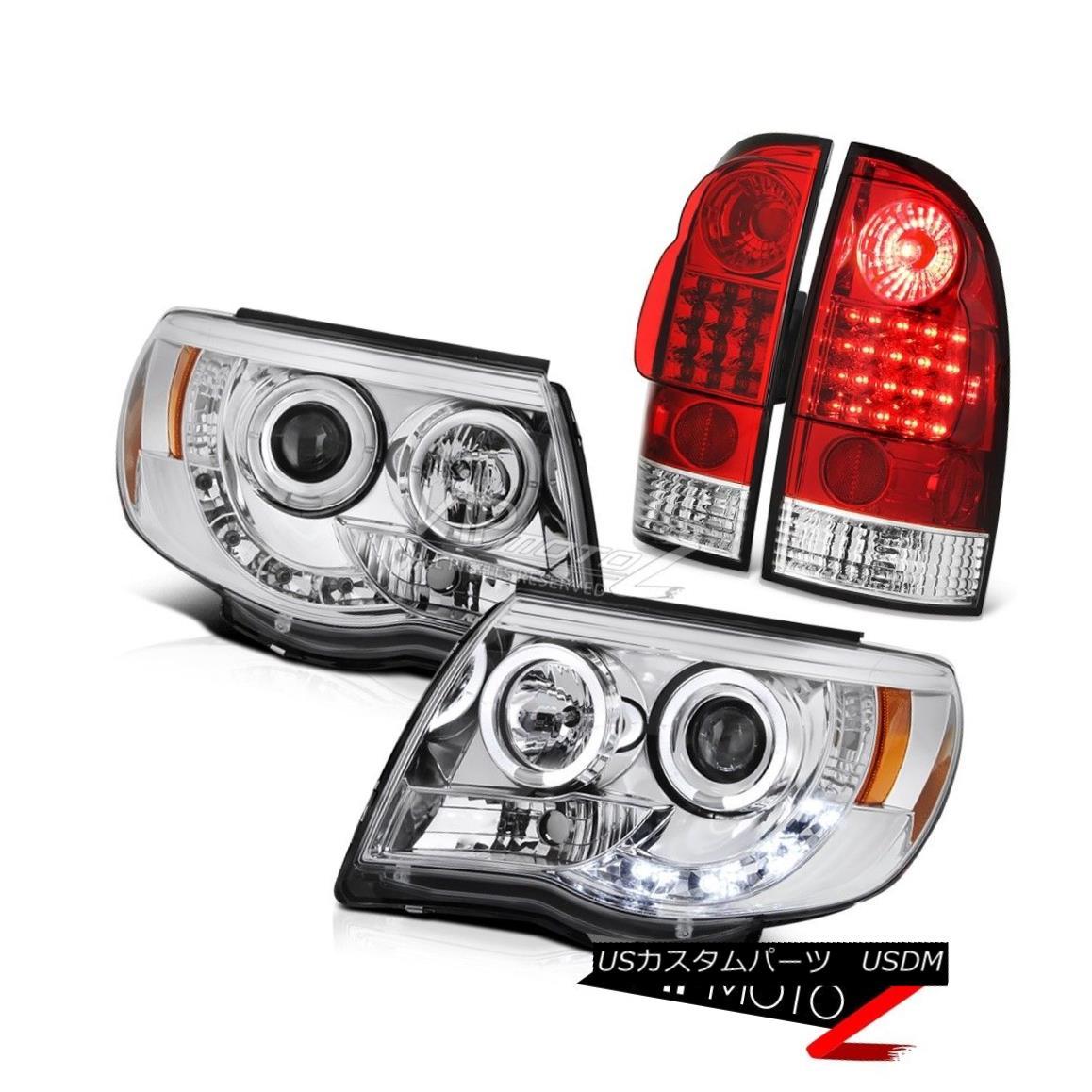 ヘッドライト 05 06 07 08 09 10 11 Tacoma PreRunner Chrome Halo LED Headlights Red Tail Lamps 05 06 07 08 09 10 11タコマPreRunnerクロームHalo LEDヘッドライトレッドテールランプ