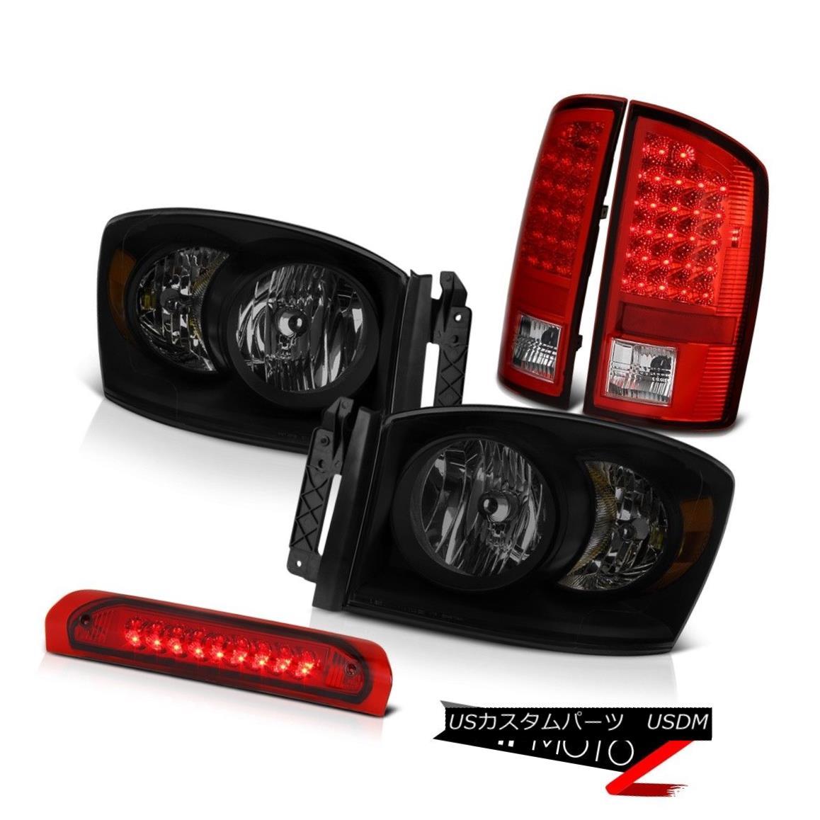 ヘッドライト 2006 Ram 2500 3500 Darkest Smoke Headlamps Wine Red Roof Brake Lamp Tail Lights 2006 Ram 2500 3500 Darkest Smoke Headlampsワインレッド屋根用ブレーキランプテールライト