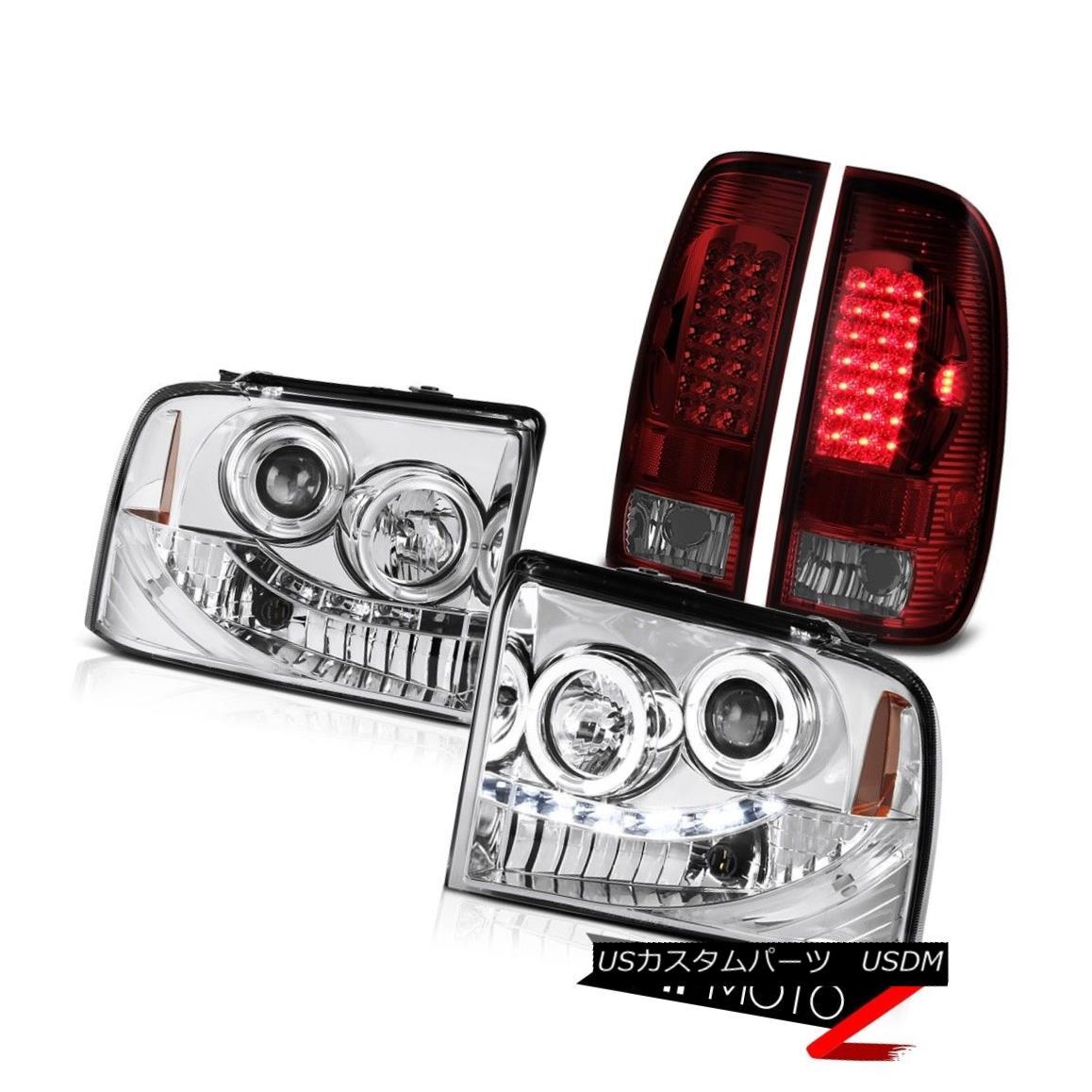 ヘッドライト Clear Halo Angel Eye Headlight Red LED Tail Light Ford F350 King Ranch 2005-2007 クリアヘリオエンジェルアイヘッドライトレッドLEDテールライトフォードF350キングランチ2005-2007