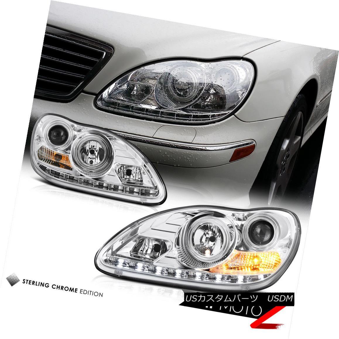 ヘッドライト 2000-06 W220 S-CLASS S500 S430 Euro Chrome Projector LED Headlight H7 Lamp LH+RH 2000-06 W220 S-CLASS S500 S430ユーロクロームプロジェクターLEDヘッドライトH7ランプLH + RH