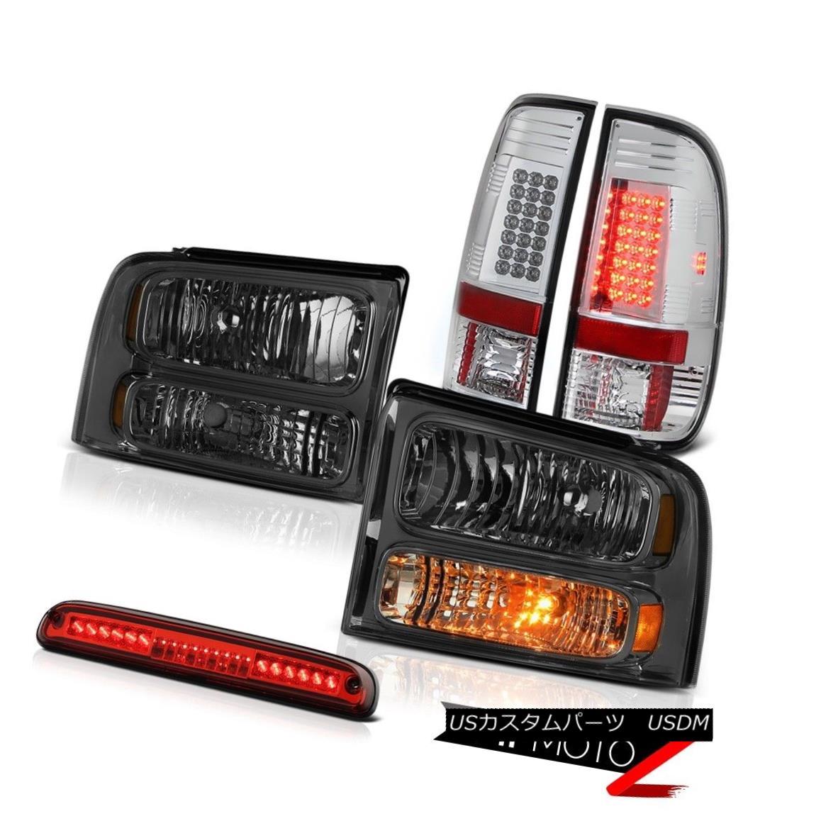 ヘッドライト 2005 2006 2007 Ford F250 Pair Smoke Headlamps Bright LED Taillight High Stop Red 2005年2006 2007年Ford F250ペア煙ヘッドランプ明るいLED晴天ハイストップレッド