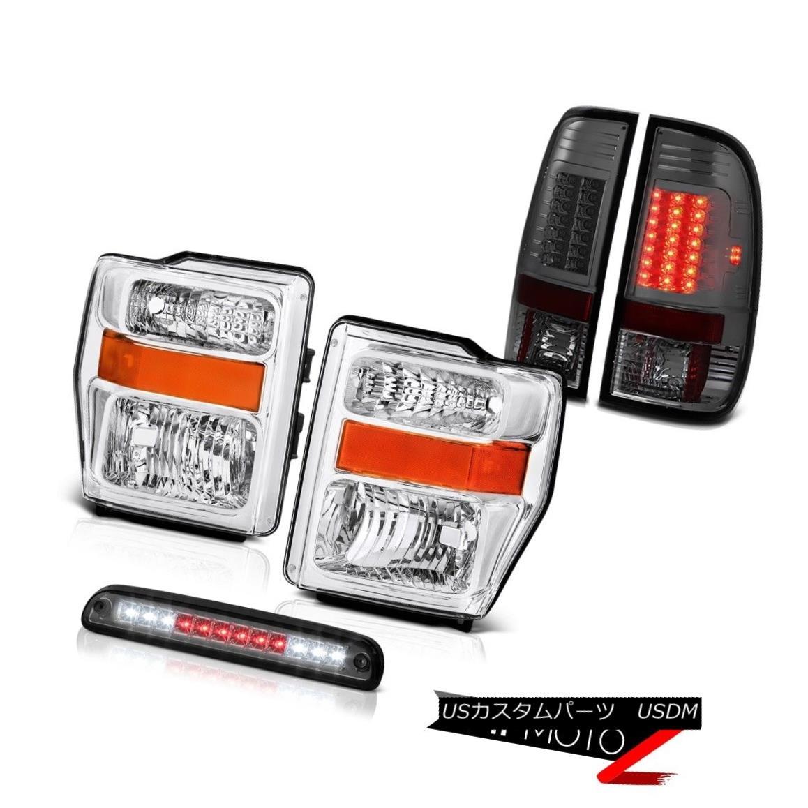 ヘッドライト Left Right Chrome Headlamp Roof Stop LED Tinted Smoke Taillights 08-10 F350 5.4L 左の右のクロームヘッドランプ屋根のストップLEDは、煙の尾灯を着色08-10 F350 5.4L