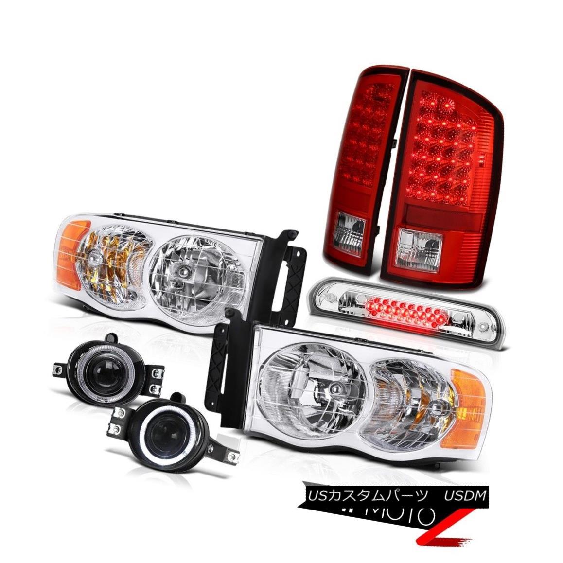 ヘッドライト 02-05 Dodge Ram Crystal Clear Headlamps Brake Tail Lights LED Euro Fog High 02-05ダッジラムクリスタルクリアヘッドランプブレーキテールライトLEDユーロフォグハイ