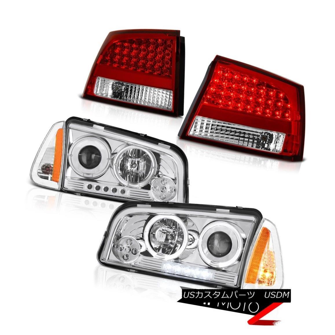 ヘッドライト 06-08 Dodge Charger Super Bee Bloody red tail brake lamps turn signal headlights 06-08ダッジチャージャースーパービーブラッディー赤いテールブレーキランプ信号ヘッドライトを回す
