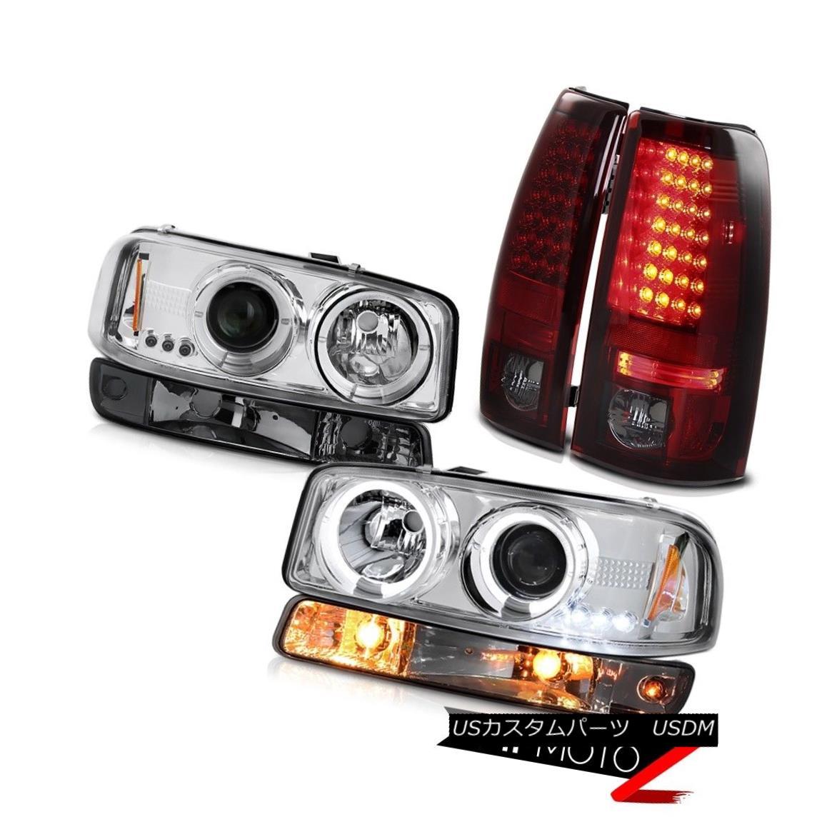 ヘッドライト 99-06 Sierra SL Red smoke taillights smokey parking light euro clear headlamps 99-06シエラSLレッドテールライトスモーパーキングライトユーロクリアヘッドランプ